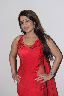 Actress Nikita Thukral Latest Pictures in Red Saree  0001.jpg