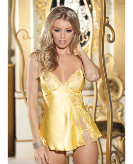 Charmeuse and Lace Babydoll w/Adjustable Straps and Thong Buttercup Yellow