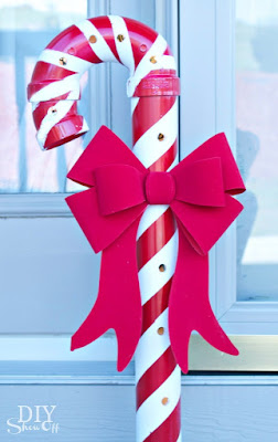 Lighted PVC Candy Canes with bow