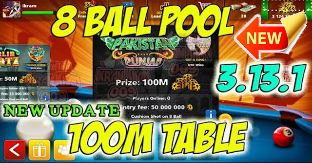 Update 8 ball pool table 100 million coins