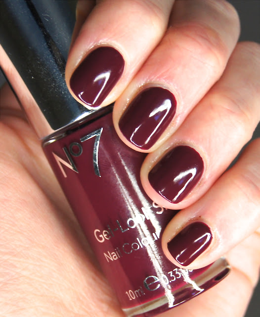 no7 gel look high shine nail colour deep wine swatch
