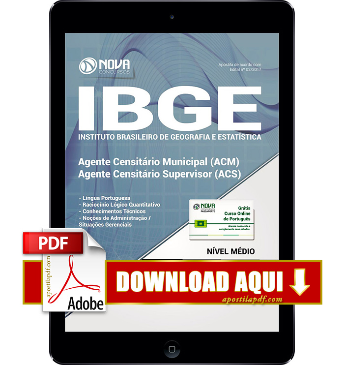 Apostila IBGE 2017 PDF Download Agente Censitário Supervisor