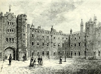 Courtyard of St James's Palace in 1875  from Old and New London by E Walford (1878)