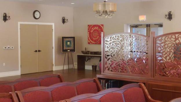 The interior of Chabad at La Costa, in Carlsbad, California