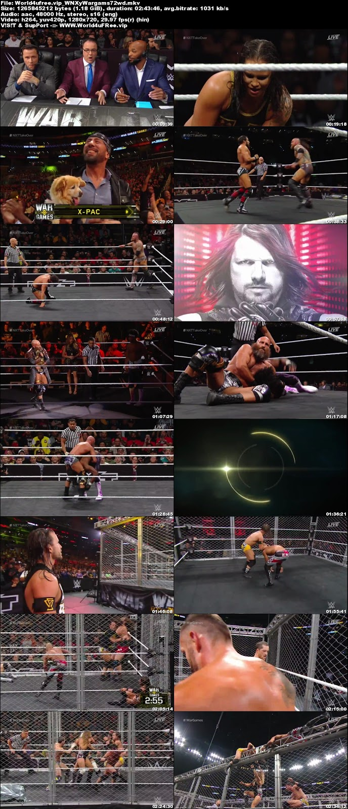 Wwe Nxt Takeover Wargames II 18 November 2018 WEBRip 720p 1.1Gb tv show wwe Wwe Nxt Takeover Wargames 18 November 2018 HDTV 720p 300MB x264 compressed small size free download or watch online at world4ufree.vip