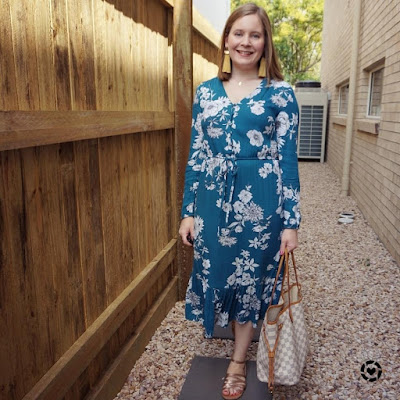 awayfromblue Instagram | family Christmas card photo outfit kmart teal floral midi dress louis vuitton damier azur neverfull