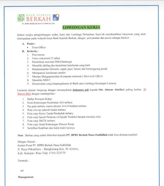 Lowongan Pekerjaan Dari Bank Syariah Berkah