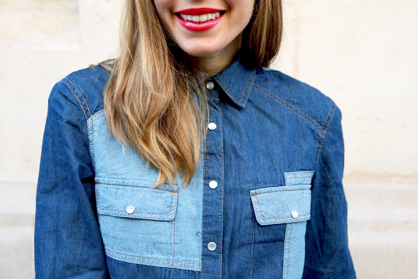 chemise jean patchwork