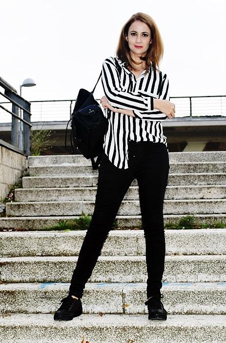 B.E. (El Bau00fal de Eleanor) by Julia R. Outfit Blanco y Negro Camisa Rayas