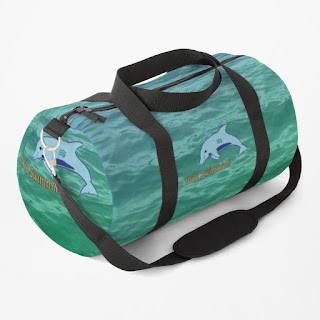A duffel bag featuring a dolphin Wild Swimming design