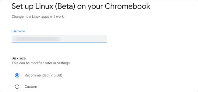 تهيئة حجم قرص Linux واسم المستخدم على Chromebook