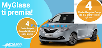 Logo Con MyGlass vinci gratis 612 Carte regalo Coop, Lancia Ypsilon e premio sicuro subito