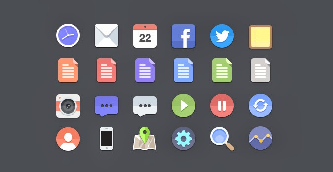 24 Flat Icons (in PSD)