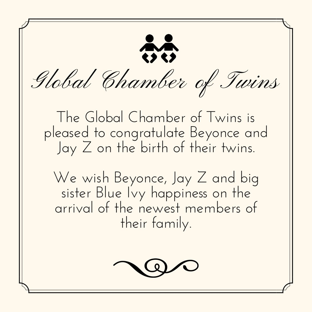 beyonce twins announcement