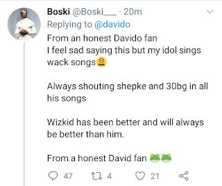 """""""My Idol Sings Wack Songs, Wizkid Will Always Be Better Than Him"""" - Fan Slams OBO Davido"""