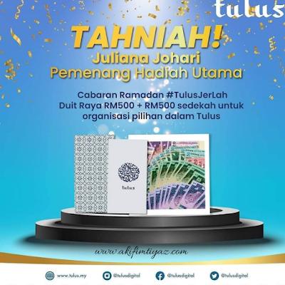 Cabaran Ramadan #TulusJerLah, Tulus Digital, Ramadhan 2021, Contest Ramdhan 2021, Menang Contest RM500 Dari Tulus Digital, Aplikasi sedekah, infak,