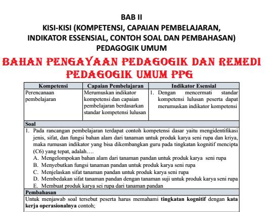 Bahan Pengayaan Pedagogik dan Remedi Pedagogik Umum PPG