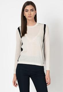 Stefanel - Дамски фино плетен Пуловер с дизайн