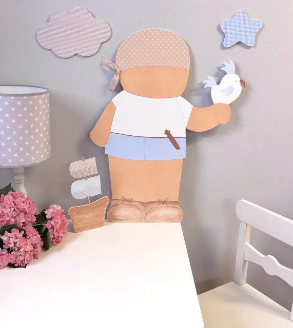 silueta infantil para la pared PIRATA decoración infantil personalizada