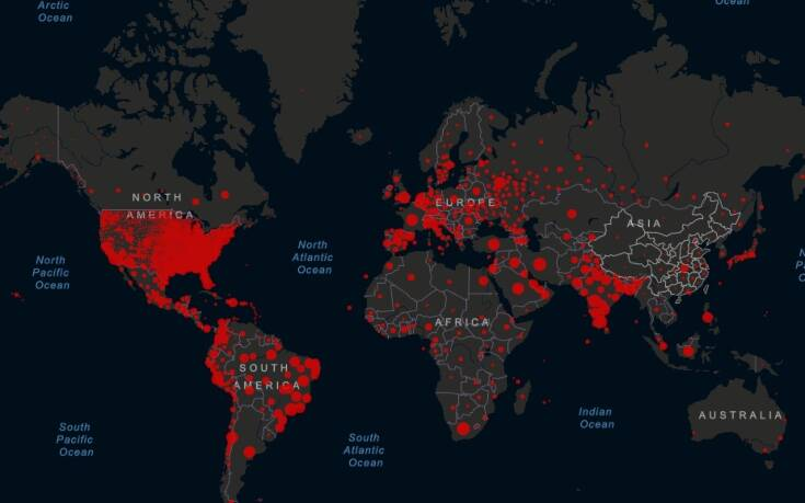 Κορονοϊός σε real time: O live παγκόσμιος χάρτης με τα κρούσματα και του νεκρούς