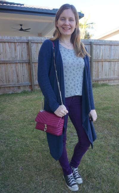 leopard print tee with navy waterfall cardigan, converse, magenta edie bag and purple skinny jeans   awayfromblue