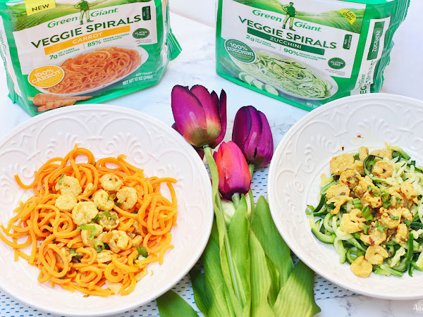 Coconut Curry Shrimp Veggie Spirals ~ #VeggieSwapIns