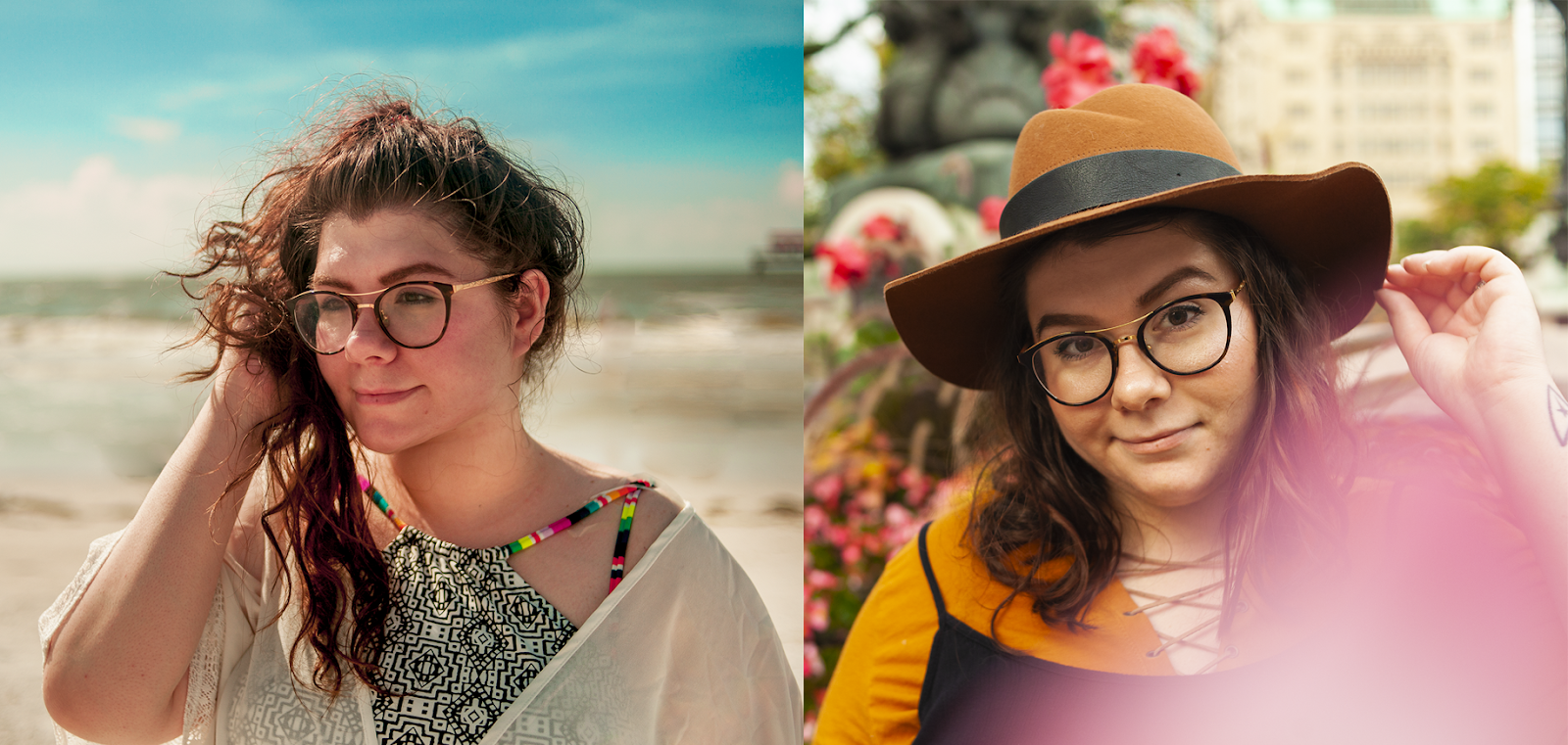 A collage of two photos side by side of Katie, a white brunette woman with round glasses. The left photo is Katie with her long wavy hair in a pony tail on top of her head looking off to the right of frame, wearing a colorful swimsuit top in front of a beach. The left photo is Katie wearing a brown panama hat and an ochre top with flowers around her in a city setting.