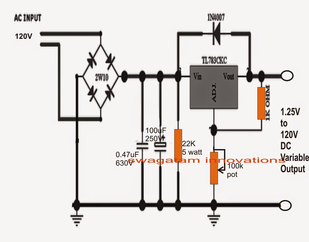to 120v mains adjustable voltage regulator ic tl783. Black Bedroom Furniture Sets. Home Design Ideas