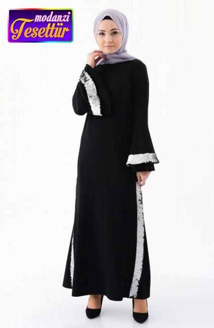 7338aaaad9493 Payet Detaylı Elbise 4256-02 Siyah Gri - bislife 2019 tesettür elbise  modelleri