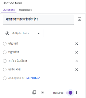 Google Form adding Questions