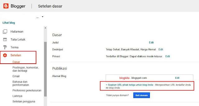Siapkan URL Pihak Ketiga Untuk Blog Anda
