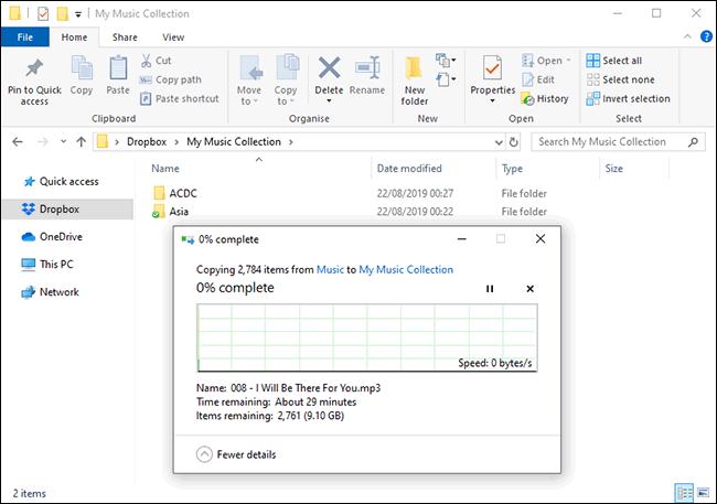 تحميل الملفات إلى Dropbox في Windows File Manager