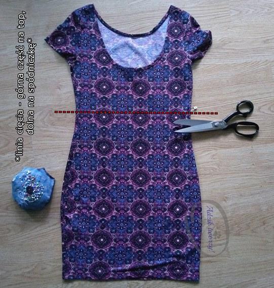 Przeróbka sukienki DIY na komplet spódniczka i top - Adzik tworzy