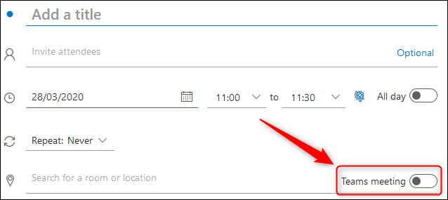 """تبديل تبديل """"اجتماع الفرق"""" في طلب اجتماع Outlook Online."""