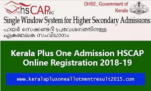 Kerala Plus One Admission 2018-19 HSCAP Online Registration