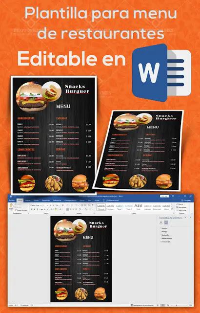 Plantilla de menú para restaurante de comida rápida  para editar en Word