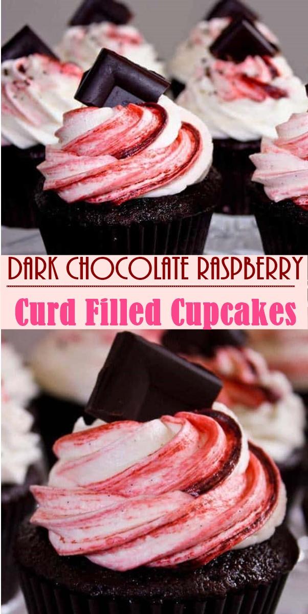 Dark Chocolate Raspberry Curd Filled Cupcakes #cupcakerecipes