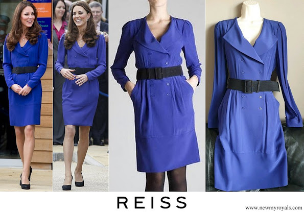 Kate Middleton wore a blue Reiss Trina Sheath Dress
