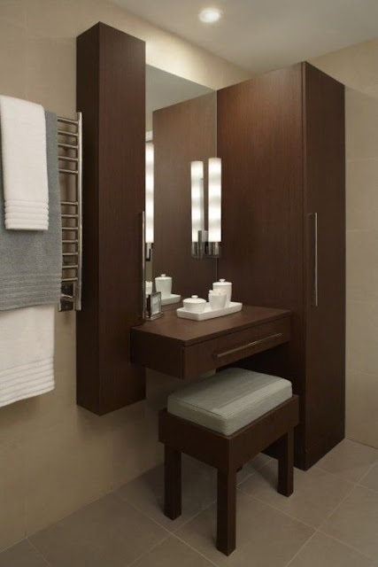 15 elegant corner dressing table design ideas for small for Bedroom designs with attached bathroom and dressing room