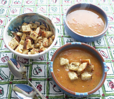 Carrot & Tomato Soup with Garlic Croutons