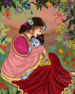 Lord Krishna With Yasoda Mata Painting, Lord Krishna With Yasoda Mata, krishna with maiya yasoda,