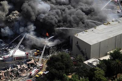 Fotografía del incendio de los Estudios Universal de 2008