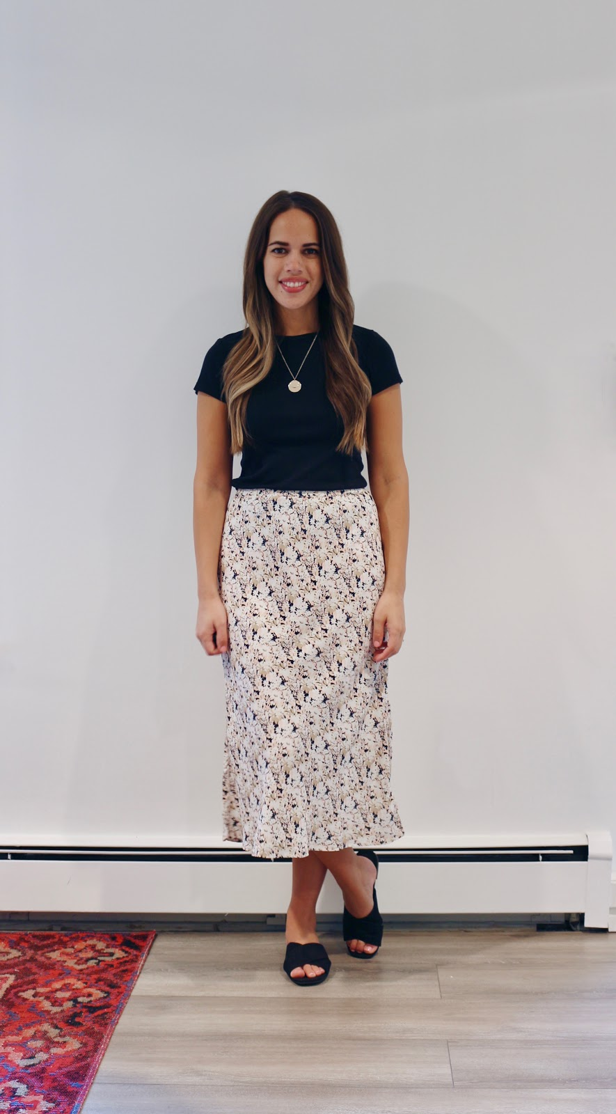 Jules in Flats -  Floral Midi Skirt (Business Casual Summer Workwear on a Budget)