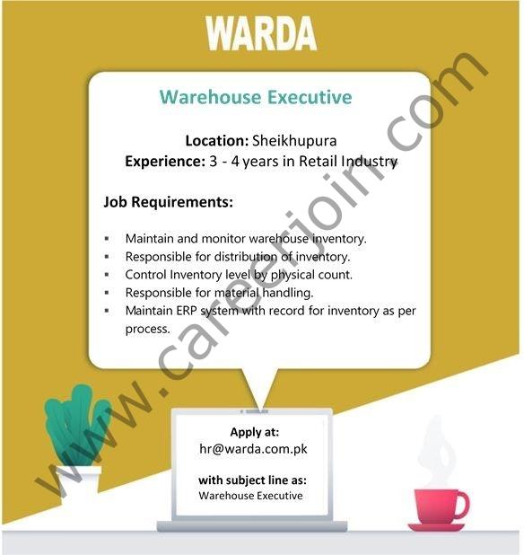WARDA Designer Collection Pvt Ltd Jobs Warehouse Executive