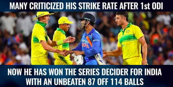 dhoni silent critics 87 runs in 114 balls vs australia smartcric