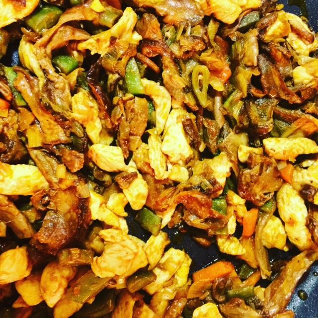 arroz-verduras-pollo-hongos