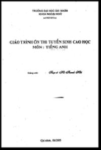 Giáo Trình Ôn Thi Tuyển Sinh Cao Học Môn Tiếng Anh - Hà Thanh Hải