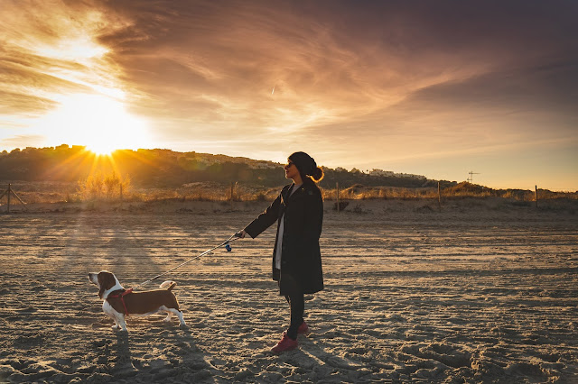 Photo of a young woman and her dog walking on the expansive beach