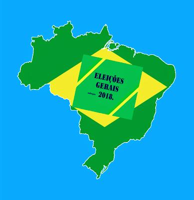 A foto mostra o mapa do Brasil e no centro está escrito: eleições gerais 2018.