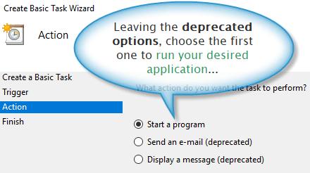 Action configuration for a Windows custom task